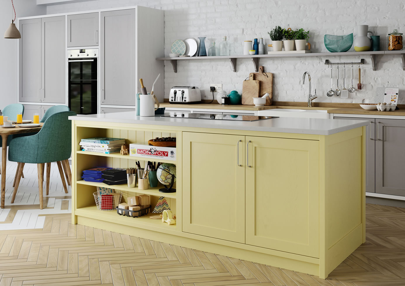Aldana Pale Yellow and Dust Grey and Brilliant White 1 mya Kitchens Penkeridge