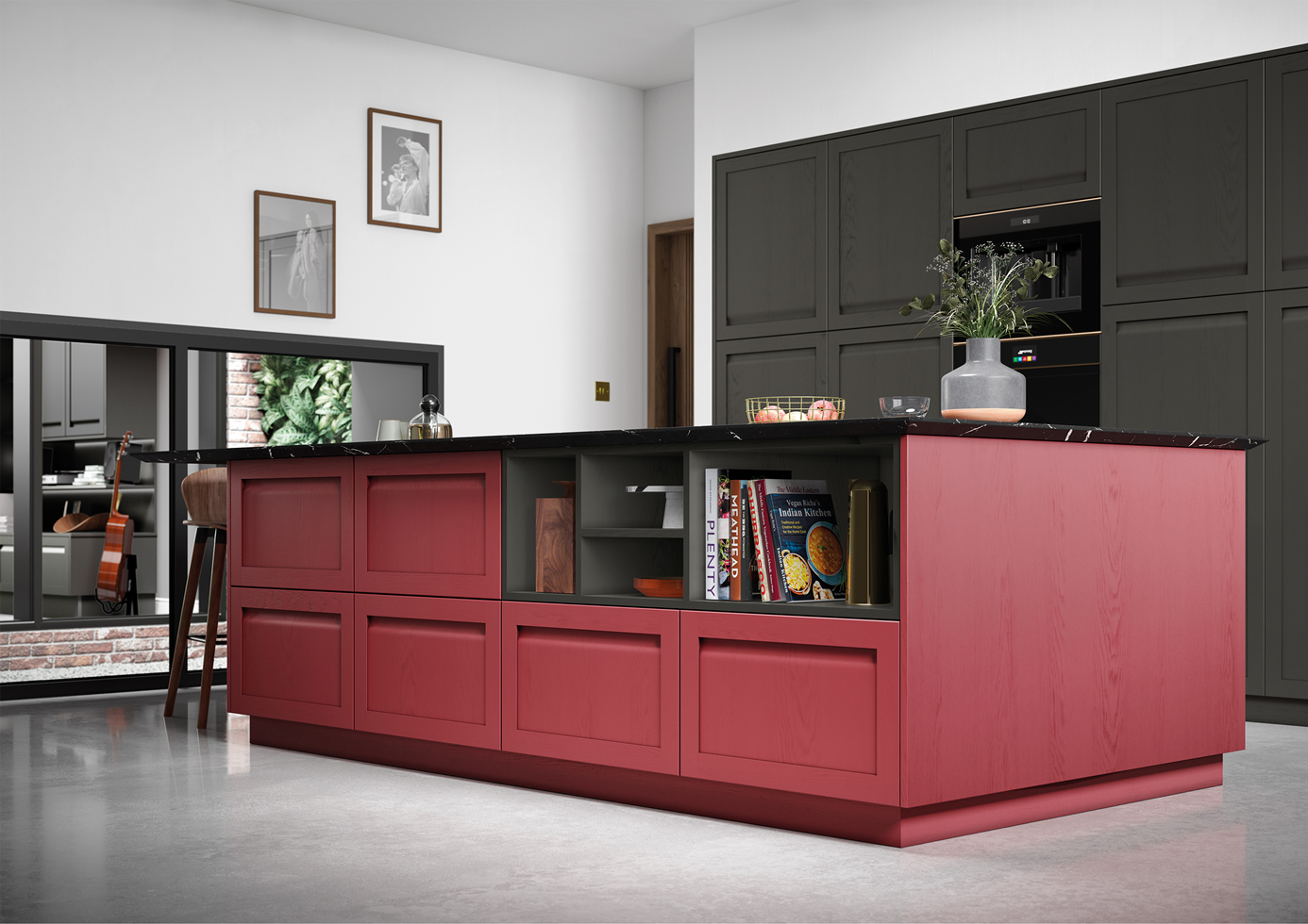 Harborne Graphite and Chicory Red Cameo 2 mya Kitchens Walsall