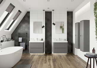 Mya Bathrooms Staffordshire Lamra Matt Grey Link image