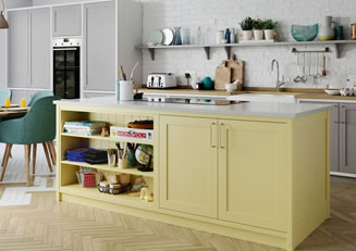 Mya Kitchens Aldana Dust Grey Pale Yellow and Brilliant White Link image Stafford