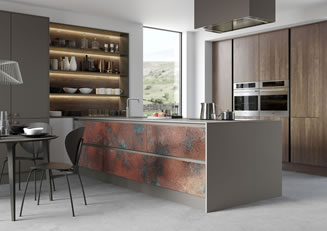 Mya Kitchens Ferro Oxidised Copper Zola Matte Lava Rezana Espresso Oak Link image Penkeridge