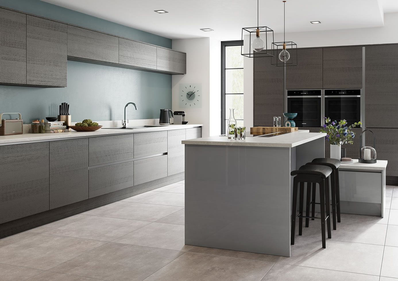 Mya Kitchens Tavola Anthracite & Zola Gloss Dust Grey Main Image Stafford