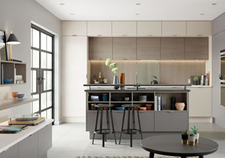 Mya Kitchens Tavola Shell, Dust Grey and Weathered Silver Link image Stafford