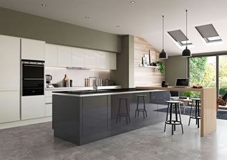 Mya Kitchens Zola Soft-Matte Handleless Dust Grey & Tavola Hacienda Black Link image Stafford