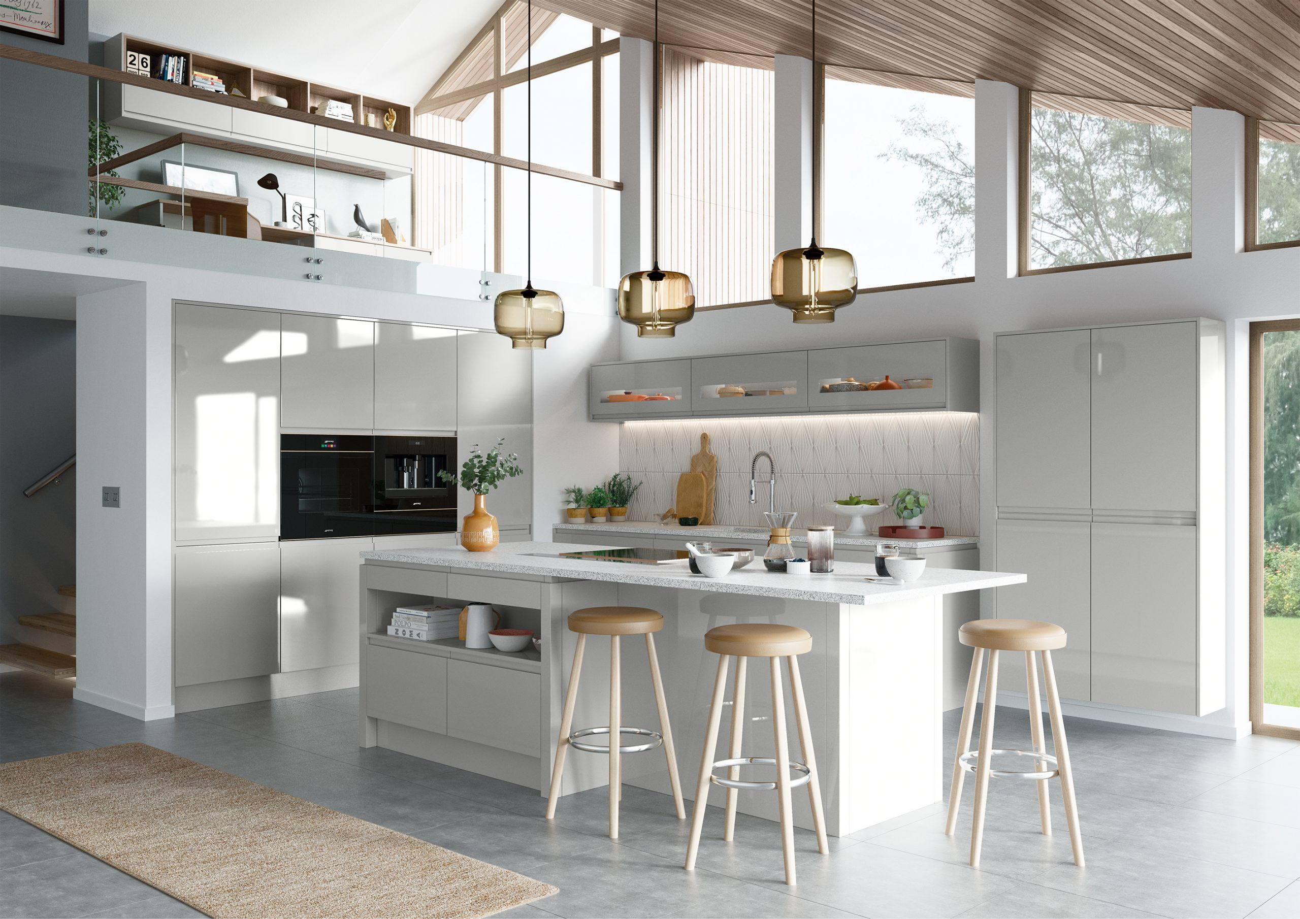 Strada Gloss Light Grey Main Shot mya Kitchens Penkeridge