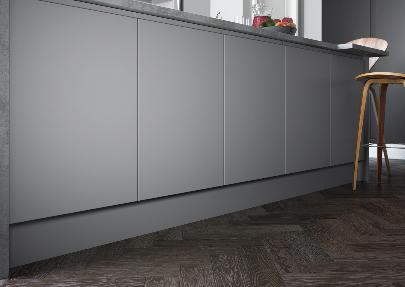 Strada Matte Light Grey and Dust Grey Cameo 2 mya Kitchens Stafford