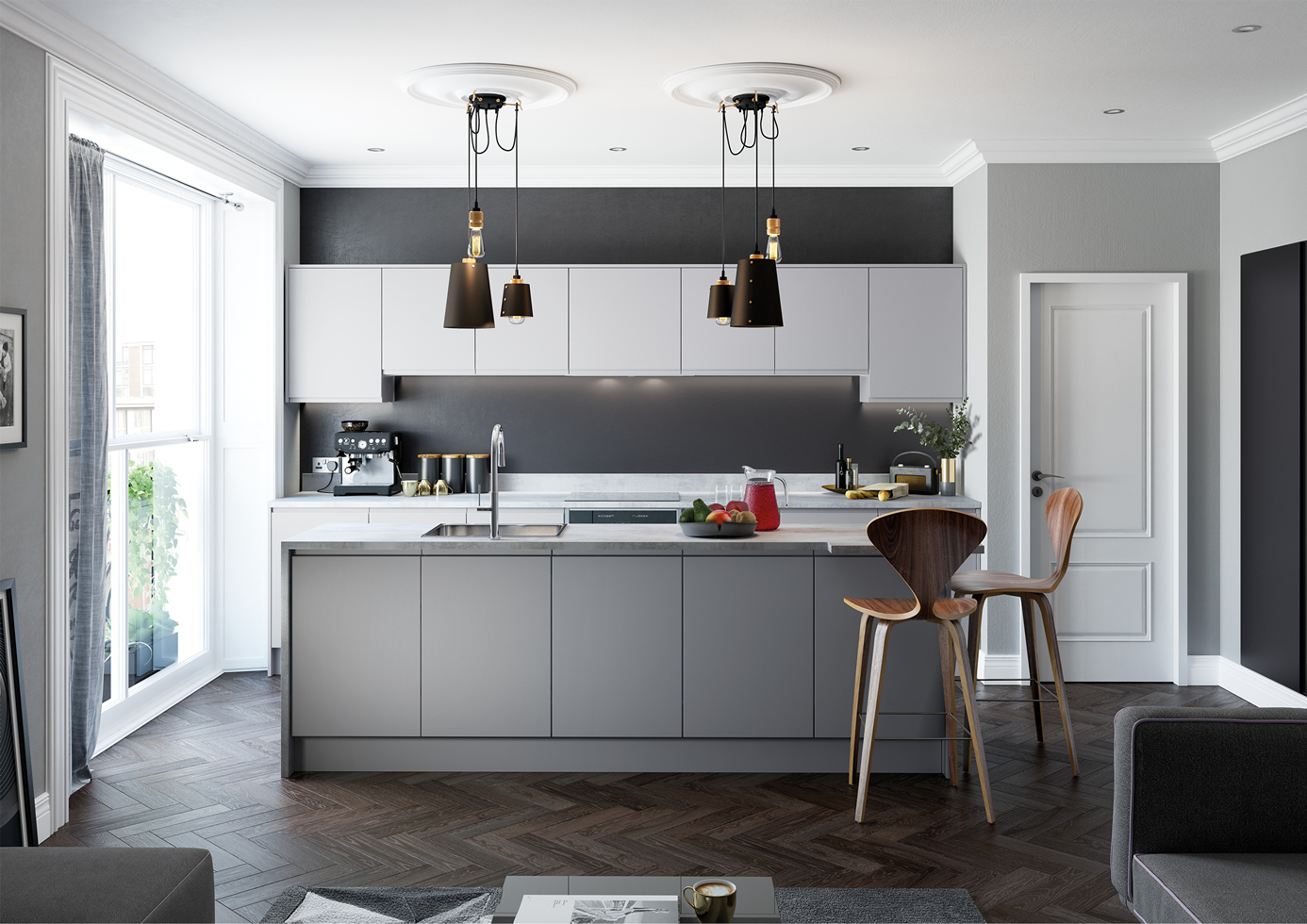 Strada Matte Light Grey and Dust Grey Main Shot mya Kitchens Stafford