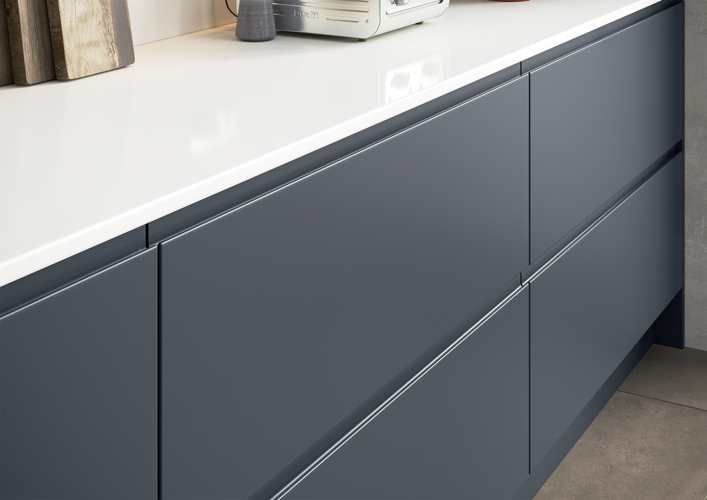 Strada Matte Slate Blue with Rezana stained Espresso Cameo 2 Kitchens Stafford