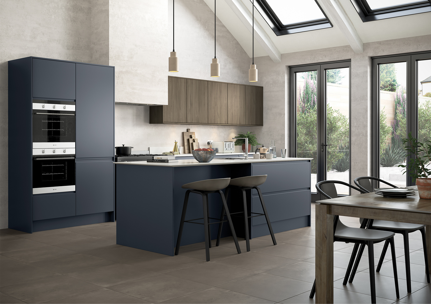 Strada Matte Slate Blue with Rezana stained Espresso Cameo 1 Kitchens Stafford
