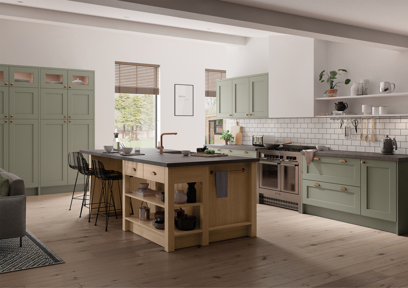 Wakefield Cardamom and Light Oak Main Shot Kitchens Stafford