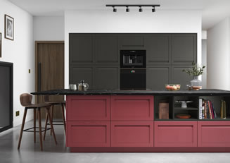 mya Kitchens Harborne Graphite and Chicory Red link image
