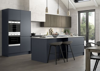 mya Kitchens Penkeridge Strada Matte Slate Blue and Rezana stained Espresso link image