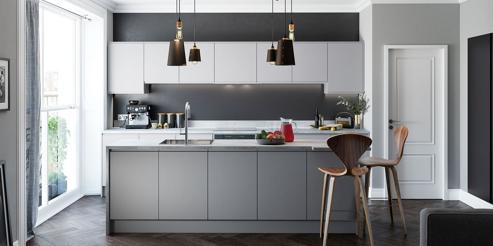 mya bedrooms and kitchens Wolverhampton Strada Matte Dust Grey slider background image