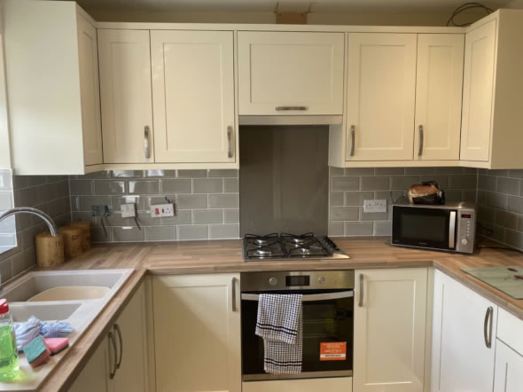 Mya Home fitted kitchens Aldana painted ivory shown in Armitage Rugeley 1
