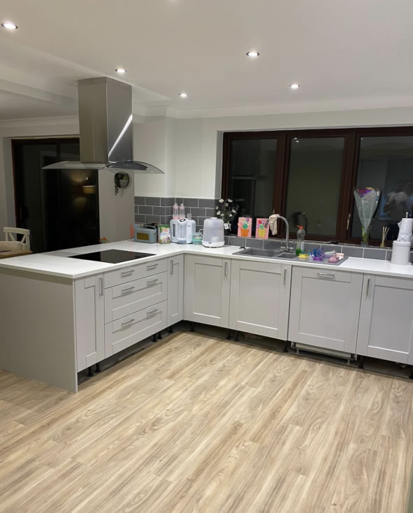 Mya Home fitted kitchens Kensington light grey with white sparkle quartz work surfaces Tamworth 2