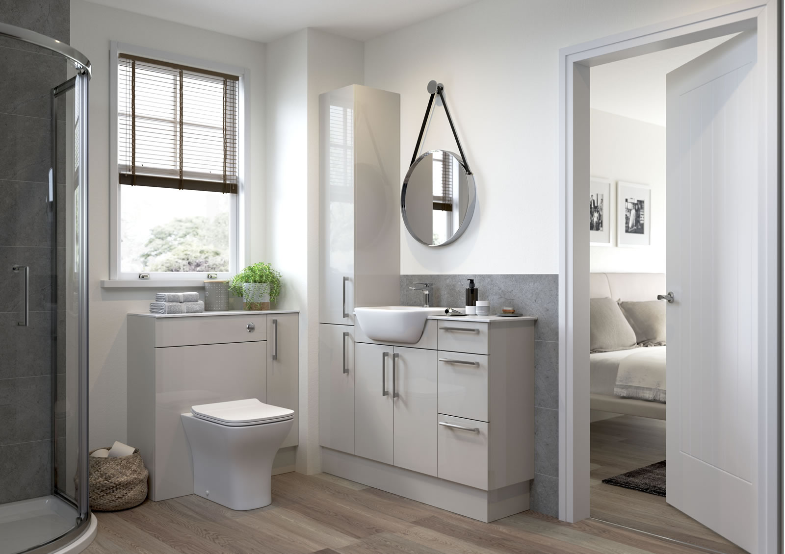 Mya Fitted Bathrooms Alba Light Grey Gloss Main Photograph