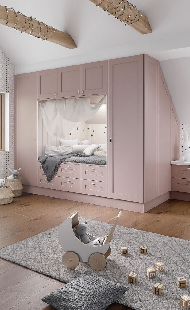 Mya fitted Bedrooms Chester - For Girls shown in Dusky Pink Supermatt Main photograph