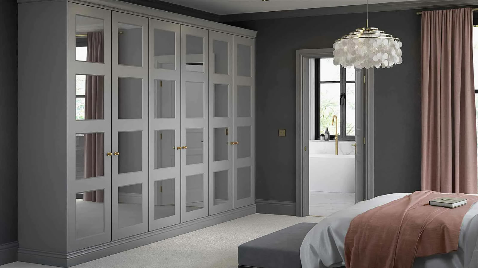 Mya fitted Bedrooms 4 Panel Eclipse shown in Swiss Dust Grey