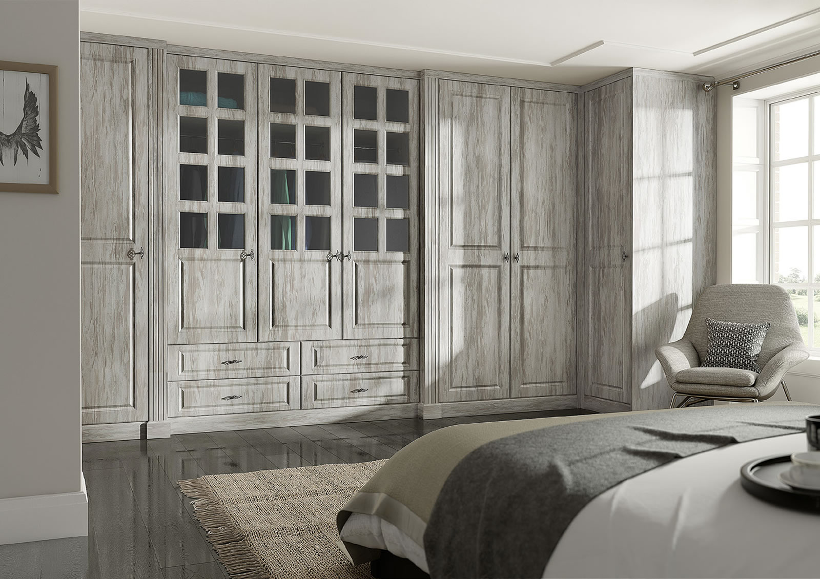 Mya fitted Bedrooms Santana shown in Light Artwood Main photograph