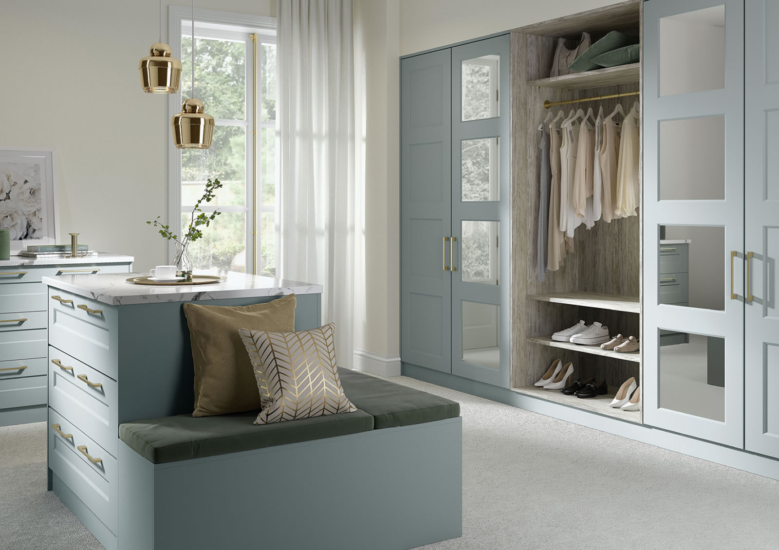 Mya fitted Bedrooms Four Panel Eclipse shown in Fjord Matt Main photograph