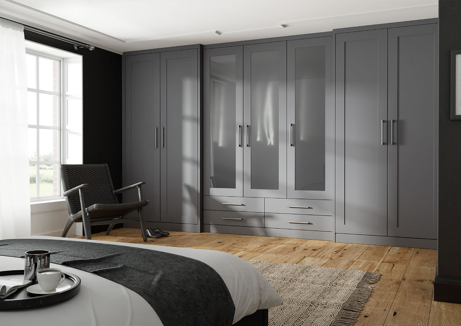Mya fitted Bedrooms Shaker no Grooves shown in Basalt Grey Supermatt